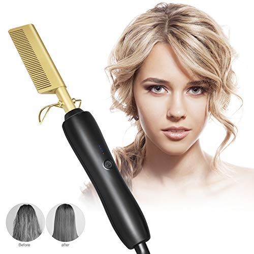 Peigne Chaud Électrique Curler Lissage pour Afro Soin des Cheveux, Filles Femmes Dames Peigne Chaud Alliage de Titane Outils Électriques pour Cheveux