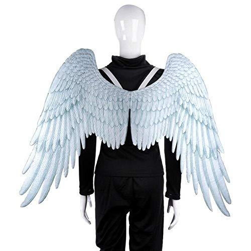 hinffinity Alas de ángel de plumas con correas elásticas para cosplay, disfraces de fiesta de Halloween, disfraz de alas grandes y tutú para niñas, mujeres y adultos, color negro y blanco