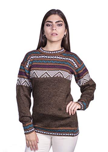 Raymis Peruanischer Damen-Pullover, handgestrickt, Alpaka, Cuzco Rundhalsausschnitt -  Braun -  Klein