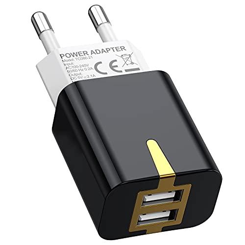 SCHITEC Cargador USB 2 Pack,2 Puertos 5V / 2.1A Cargador de Pared...