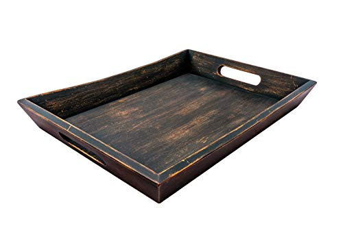 "EZDC Wooden Tray, Coffee Table Tray, Ottoman Tray Dark Brown 16 x 12"" Modern Aesthetic Decorative Serving Tray with Handles for Drinks and Food"