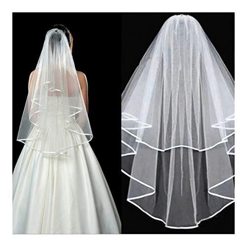 Kurze Tüll Brautschleier-weißes Elfenbein-Brautschleier for Die Braut Schneidengeradheit Kathedrale Brautschleier Brautspitze Schleier (Color : Ivory, Item Length : 75cm)