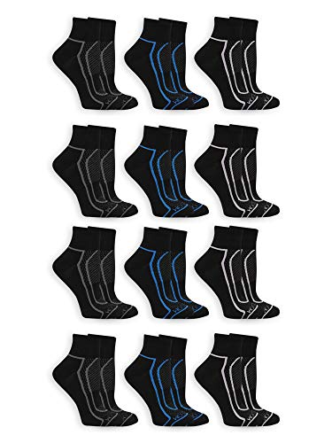 Fruit of the Loom Women's 12 Pack Coolzone Half Cushion Ankle Socks, Shoe Size 8-12, Black
