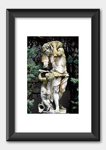Statue Chateau de Fonscolombe Park near Aix-en-Provence France Print Black Frame White 29.7x42cm (A3)