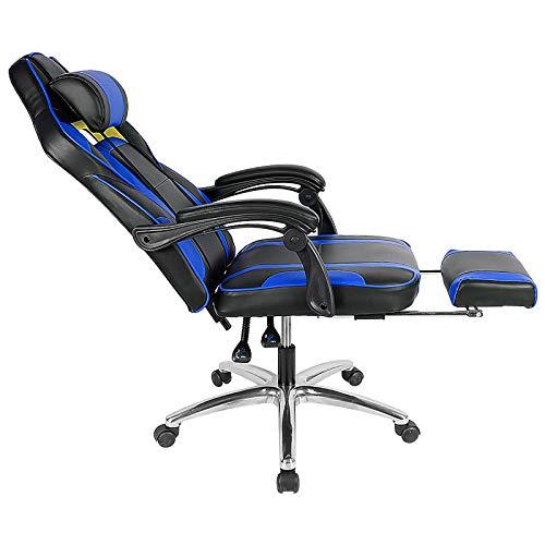 WYB Silla de Juego de Juegos, Silla giratoria ergonómica, Silla de Oficina de Espalda Alta le da una Postura Saludable, Puede Ajustar la Altura de Acuerdo con Sus Necesidades,Azul