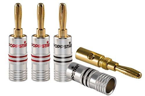 Poppstar 4X High End Bananenstecker, Bananas für Lautsprecherkabel (bis 6 mm²), Lautsprecher, AV Receiver, 24k vergoldete Kontakte (2X schwarz, 2X rot)