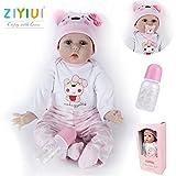 ZIYIUI Realistisch Reborn Baby Puppe 22 Zoll 55 cm Weiches Vinyl Silikon Reborn Puppe Mädchen Lebensechte Neugeborenes Handgemacht Baby Spielzeug Geschenk ,EU71-Zertifizierung