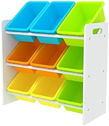 Kids' Toy Storage Organizer with 9 Plastic Bins, Small