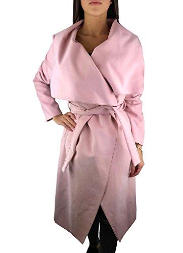 Worldclassca Damen Wasserfall Mantel Blogger Jacke Trenchcoat Luxus Fashion Cardigan Kragen ÜBERGANGSJACKE (one Size, Rosa)
