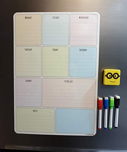 Store2508 Magnetic White Board Planner Sheet (43 * 30 cm) – Dry Erase. Includes 4 Markers & One Duster. Can Be Stuck On Refrigerator or Any Metal Surface