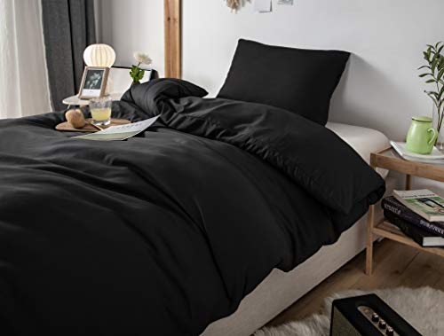 MOHAP Non-Iron Duvet Cover Set 2 PCS Single Plain Brushed Microfiber Bedding Duvet Cover with Pillowcases Black