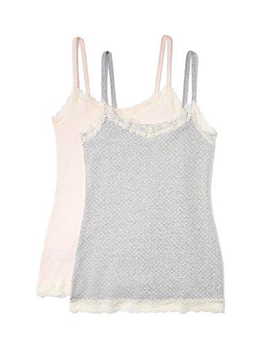 Amazon-Marke: Iris & Lilly Damen Unterhemd mit Spitze, 2er Pack Mehrfarbig Large