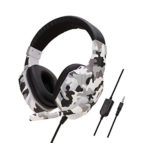 Hemlock Camouflage Gaming Headset with Microphone,USB/PS4/PC Headset Over-Ear Stereo Game Headphone Microphone Switch (Gray-PS4, Light) Lamps Sconces Wall