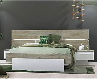 Amazon Fr Lit 140x190 Tete De Lit Lumineuse Lits Lits Et Cadres De Lit Cuisine Et Maison