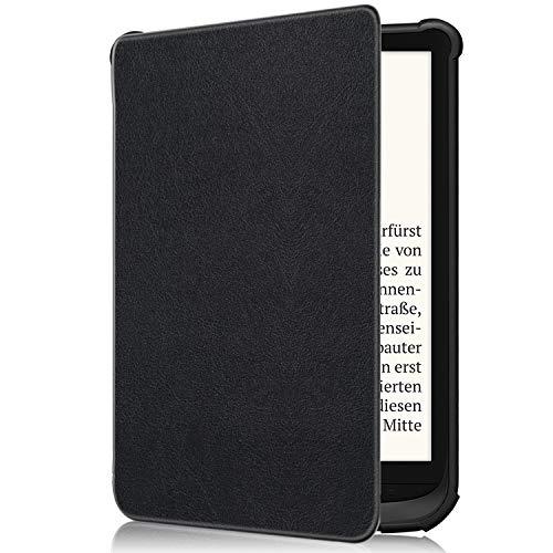 TTVie Funda para Pocketbook Touch HD 3 / Touch Lux 4 / Basic Lux 2 - Carcasa Piel PU con Función de Despertador/Reposo Automático para Pocketbook Touch HD 3 / Touch Lux 4 / Basic Lux 2, Negro