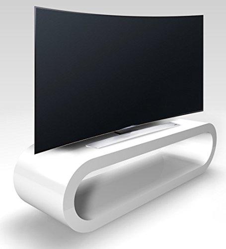 Zespoke Aro de Estilo Retro Gran Blanco de Alto Brillo Soporte TV/Gabinete de Ancho 110cm