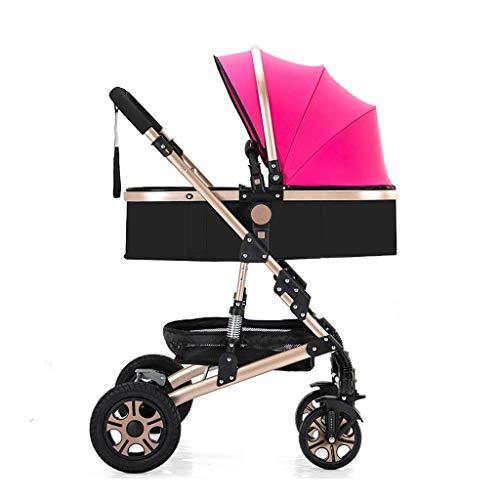 LOMJK Carritos y sillas de Paseo Cochecito Plegable Amortiguador Carro de bebé Asiento for niños pequeños Soporte for Vasos Porta mosquitera Cubierta for pies Carro de bebé Bebé Sillas de Paseo
