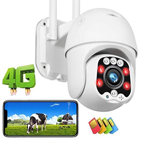 Cámara IP de Vigilancia Exterior 3G/4G LTE High-Definition 1080P Impermeable Cámara PTZ Exterior 355°/90°,Alarma de APP,Detección de Movimiento,Visión Nocturna en Color 30M,Granja Pastar 【Cámara+64G】