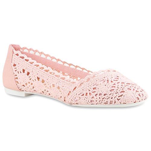 stiefelparadies Bequeme Damen Flats Klassische Ballerinas Spitze Ballerina Slipper Spitze-Häkeloptik Schuhe 116421 Rosa 39 Flandell