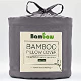 Bambaw Fundas de Almohada de Bambú | Tacto Suave y Fino | 2 x Funda Almohada | Fundas Almohada Antiácaros | Tejido Transpirable | Pillow Case | Gris Oscuro - 50x75 | Fundas de Cojín