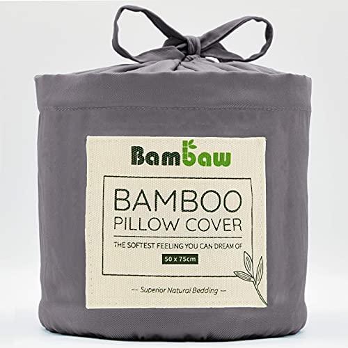 Bambaw Fundas de Almohada de Bambú   Tacto Suave y Fino   2 x Funda Almohada   Fundas Almohada Antiácaros   Tejido Transpirable   Pillow Case   Gris Oscuro - 50x75   Fundas de Cojín
