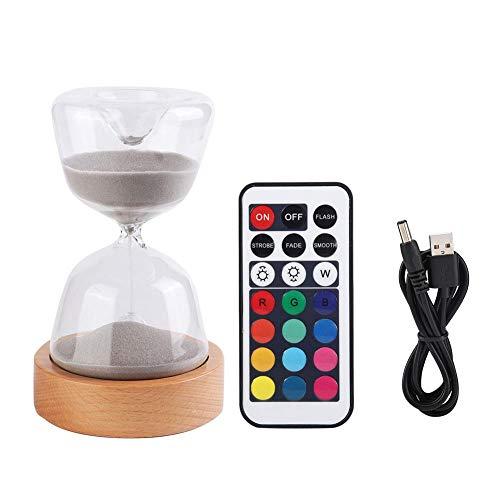 Cuque Adorno de Escritorio, Reloj de Arena Multifuncional 2 en 1 luz de Noche LED, Duradera luz LED 15 Minutos no tóxico para cocinar Lectura