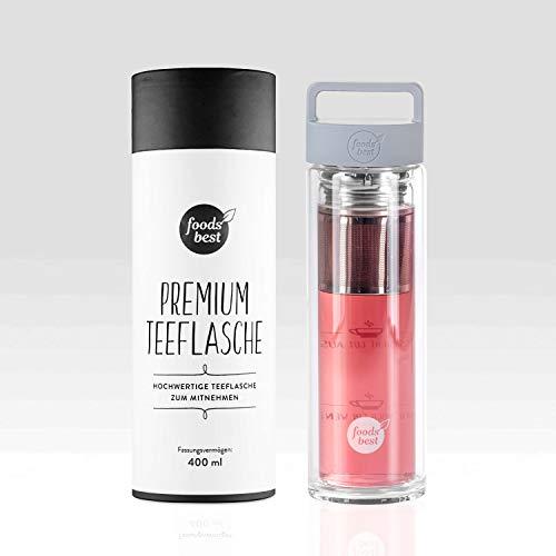 Teekanne, Teeflasche mit Edelstahlsieb | 400ml | foodsbest®, Farbe:Mattgrau