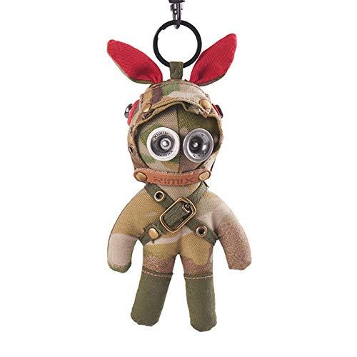 Matilda Conejo táctico Uniforme Militar, Estilo Steampunk de Camuflaje, Colgante de Mago Clave, Llavero de Mochila de Coche(Color:A)