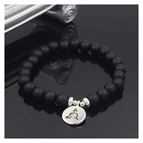 NIANXINN Mujer Pulsera de Piedra, 7 Chakra Natural Black Agate Beads Elástico Brazalete Meditación Joyería Colgante Joyería Praza Yoga Energía Energía Reiki Encanto Joyería Pulsera de Chakra
