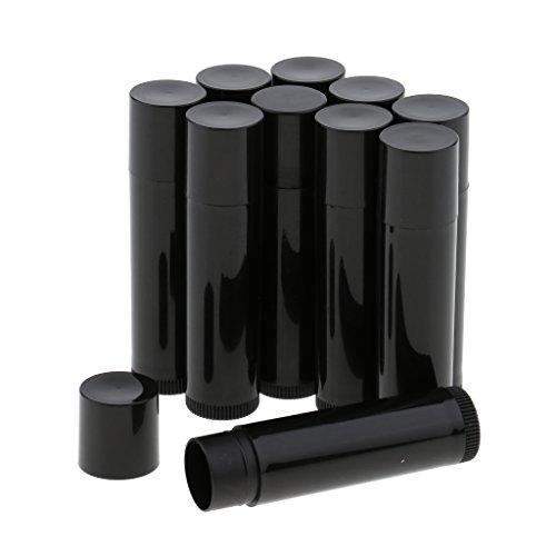 B Baosity 10 Pièces Vides Baume à Lèvres Tubes Cosmétiques Conteneurs Bouteilles De Rouge à Lèvres - Noir, comme décrit