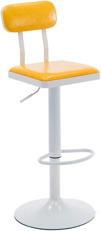 Retro White Base High Stool Bar Chair Bar Backrest Stool 360° redatable Height Adjustable Yellow