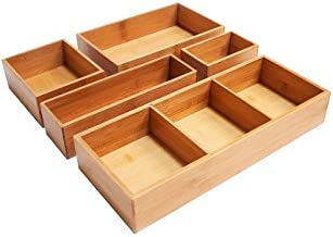 New Seville 5 Piece Bamboo Organizer Boxes Natural (Assorted Sizes)