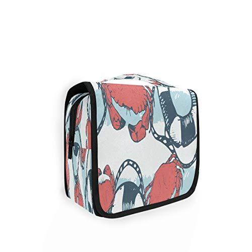 TropicalLife Kulturtasche zum Aufhängen, Krabbe, Rettungsring, Streifen, Organizer, Kulturbeutel, Kosmetiktasche, Reisetasche mit 4 Fächern für Frauen