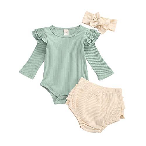 Carolilly 3-teiliges Set für Mädchen, Einteiler, langärmliges Shirt + Shorts + Band mit Schleife, Grün 3-6 Monate