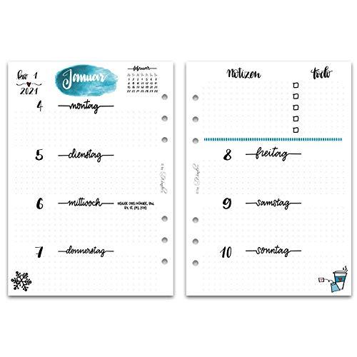 SinnWunder® Premium-Kalendereinlagen - Wochenplan mit 1 Woche auf 2 Seiten - LetteringSinn (2021 - Din A5)