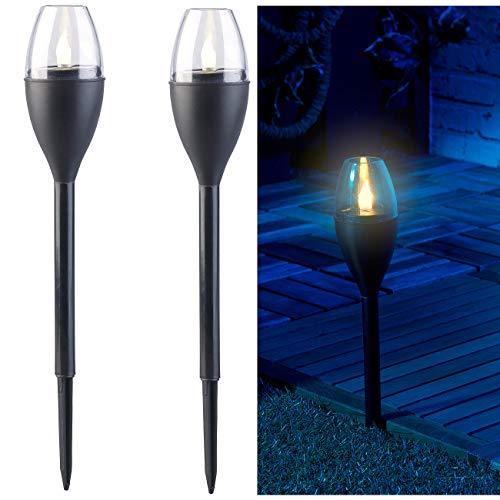 Lunartec LED Fackel: 2er-Set Solar-Akku-Gartenfackeln, LED in Flammen-Optik, Flackerlicht (Solar Gartenfackel)
