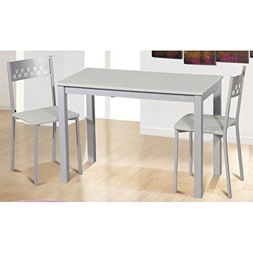 SHIITO - Mesa de Cocina 110x55 cm Extensible Apertura Frontal y Tapa en Cristal