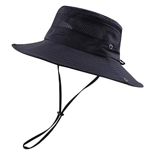Summer Men Fishing Hat UPF 50+ UV Protection Sun Hats for Women Outdoor Wide Brim Bucket Cap (Navy)