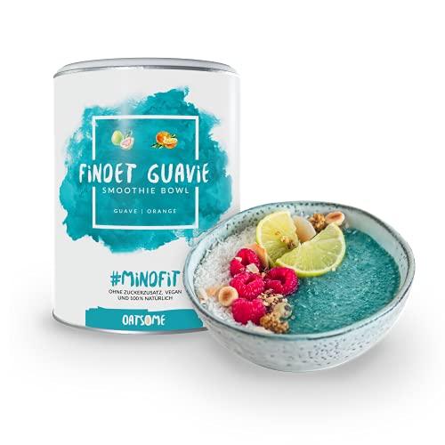 Oatsome Smoothie Bowl Guave & Orange - Frühstück Pulver für vegane Ernährung - 1min Zubereitung - 100{af0f6e87cac4aaca8286c17b6a52ec3c017463050dc8a1b6bbd2b1cd8a0f2d32} natürlich, ohne Zusatzstoffe und raffinierten Zucker (Findet Guavie, 400g)
