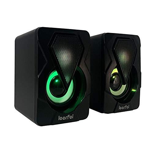 YOUYO Altavoces de computadora con cable, mini audio de escritorio, luces LED coloridas, carga USB, estéreo de alta fidelidad, apto...