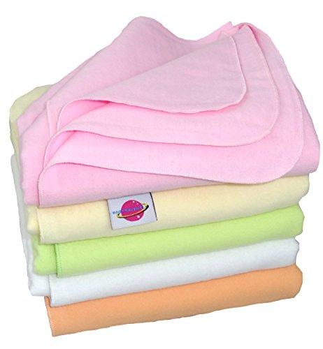 Babymajawelt® Moltontücher Flanell weiß oder bunt 80x80cm - 5er Set Super SOFT ver. Varianten (Mädchen bunt)