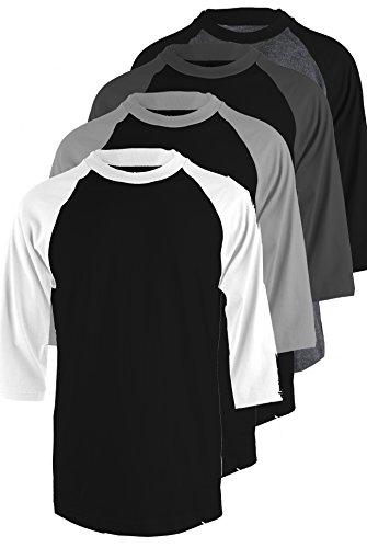 TOP LEGGING Men's 4 Pack Regular Fit 3/4 Sleeve Baseball T-Shirt -Cotton Raglan Jersey S-5XL - Small
