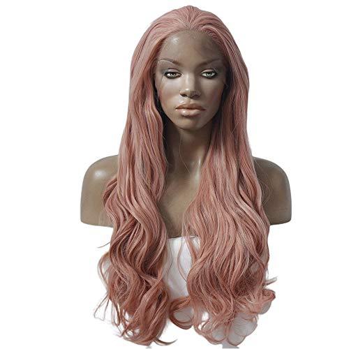 Perruques de 71,1 cm de long cheveux bouclés avec dentelle frontale, perruques roses épaisses pour la beauté