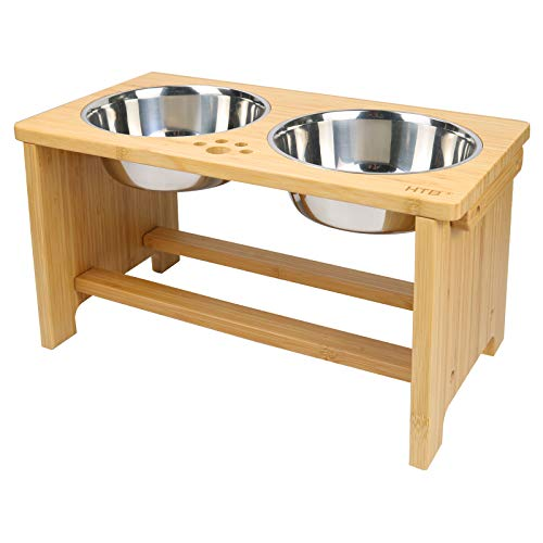 HTB Elevated Dog Bowls,Raised Dog Bowl Stand Feeder with 2 Stainless Steel Bowls,Dog Cat Pet Food Water Bowls for Medium Large Dogs