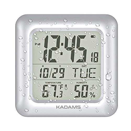 KADAMS Large Digital Bathroom Shower Wall Clock, Waterproof for Water Spray, Temperature Humidity, Moisture Proof, Water Resistant, Calendar Month Date Day, Suction Cups Hole Stand Rope Clock - Silver