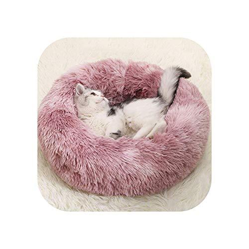 Robes for Animal de Compagnie |Doux Chien lit Confortable Donut Cuddler Ronde Niche Ultra Doux et Lavable Chien Coussin Lit for Chat Hiver Chaud Canapé 1-C-50CM HLSJ (Color : A, Size : 50cm)