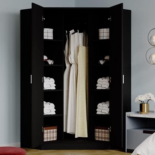 2 Doors Corner Wooden Wardrobes with Shelf & Hanging Rail Large Clothes Storage Cupboards for Bedroom Furniture (Black)