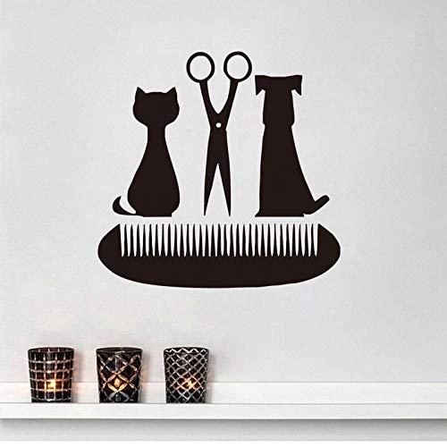 Salón de belleza tijeras peine tatuajes de pared tienda de mascotas decoración gatos y perros vinilo decoración del hogar pegatinas de pared A7 61x59cm