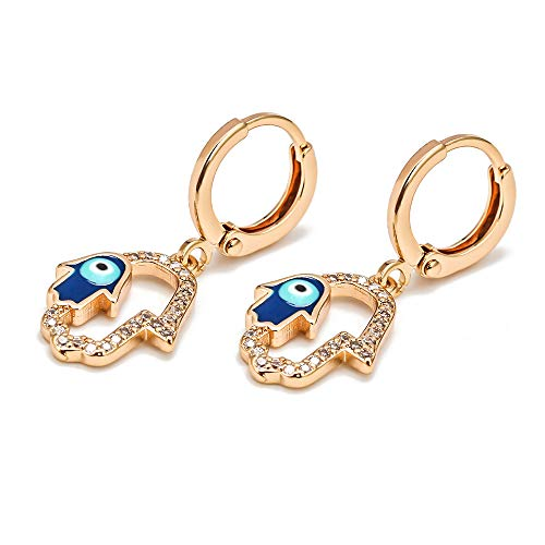 Lucky Eye Estrella Fátima mano turco mal ojo gota pendientes oro plata color pequeños pendientes colgantes para las mujeres niñas joyas BE30