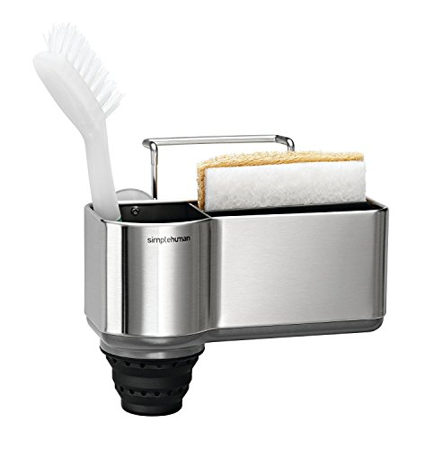 simplehuman Suction Cup, Brushed Sink Caddy Sponge Holder, Stainless Steel, Full-Size